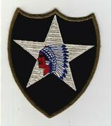 Rare Gemsco Ww 2 Us Army 2nd Infantry Division Od Border Patch Inv S475