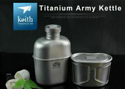 Pure Titanium Military Water Bottle+ Canteen Cup Camping 1100ml + 700m