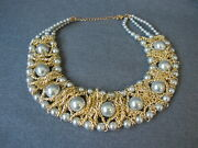 Vintage 80and039s Gray Faux Pearls Goldtone Chained Bib Necklace
