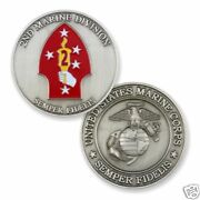 Marine Corps 2nd Division Antique Silver Challenge Coin