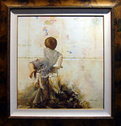 Michael Gorban Curiosity Ii Hand Signed And Embellished Giclee On Canvas, Child