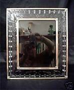 Unique Cut And Engraved Glass Picture Frame, Silver Rim, C. 1900, Size 12 X 14