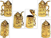 Solid 18k Yellow Gold 3-d German Beer Stein Charm
