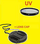 52mm Ultra-violet Uv Filter+front Snap-on Lens Cap To Any Camera 52mm Threads