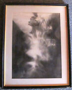 Fine Art Original Signed Charcoal Female Relief Drawing By Calvin Albert
