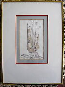Original Ink Wash Painting Sturdy Roots Amar Nath Sehgal Signed Indian
