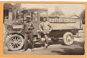 Real Photo Postcard Rppc - Two Men And E. Etter Ice - Coal Truck