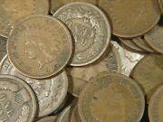 10 1800and039s-1900and039s Indian Head Copper Penny Cent Coin Full Dates Only From Lot