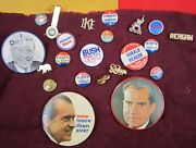 Vintage Presidential Campaign Buttons Nixon Kennedy Reagan Gold Willkie Bush