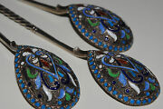 Sale 1000. Off Russian 84 Enamel Silver Antique Spoons Set Of Three