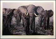 Mark King Elephant Stand Signed Art African Bull Safari L@@k Submit Best Offer