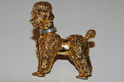 Vintage 18kt Diamond Collared Poodle Yellow Gold Brooch Hallmark Crown Sign M
