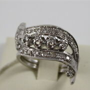 18k 750 White Gold Eternity Ring Wave With Diamonds Ct 0.45 Made In Italy