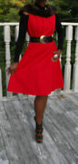 Elegant Swing Custom Mink And Lipstick Red Textured Poly Dress Gown M 6-10