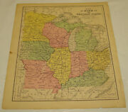 1871 Warren Antique Map/western States/oh,ky,il,in,mo,ia,wi,mi,mn/hand-colored