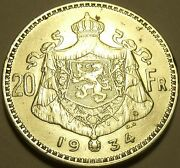 Extremely Rare Doubling Error Silver Belgium 1934 20 Francsawesomefree Ship