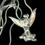 Ab Tinkerbell Fairy Made With Crystal Angel Wings Necklace Jewelry New