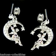 Tinkerbell Made With Crystal Crescent Moon Star Fairy Earrings Jewelry