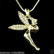 Gold P Tinkerbell Pixie Made With Crystal Angel Fairy Necklace Jewelry