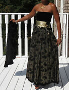 Mint Couture Vtg Escada Gold And Black Velvet Pleated Ball Gown Dress 38/8 S-6