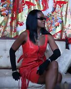 New Designer Couture Versace Lipstick Red Leather And Fringe Mini Dress Gown S-6