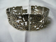 Vintage Mexico Sterling Heavy/wide Bracelet W/abstract Animal Design-1930and039s/40and039s