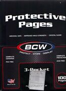 100 Pagesbcw3-pockets Currency Collectors Holders Sleeves Pages