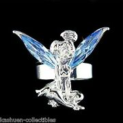 Blue Tinkerbell Made With Crystal Fairy Angel Adjustable Ring Jewelry