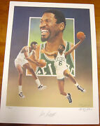 Bill Russell Autographed Boston Celtics Lithograph By Christopher Paluso