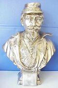 Antique Silverplate Napoleon Iii Bust Statue French Franco Prussian War France