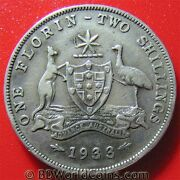 1933 Australia One 1 Florin - Two Shillings Silver Melbourne Mint Key Date Coin