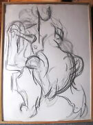 Original Abstract Charcoal Drawing Of Female Figure By M. Krasne 1979