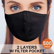500 Face Mask Double Layers Reusable Washable Cloth Fabric + Pm2.5 Filter Pocket