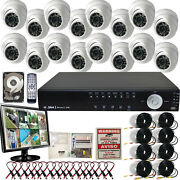 16 Ch Channel Surveillance Home System H.264 Video Dome Ir Cameras 1tb Monitor