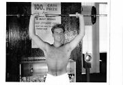 Barechested Man Lifts Weights Vintage Photo Hot Head 1963