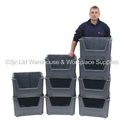 British Made Order Picking Parts Storage Bins Boxes Scooped Front Stack And Nest