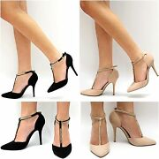 New Women Bmo Black Nude Beige T-strap Gold Chain Pointy Toe Pointed High Heels