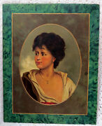 Hand Painted Portrait On Slate In The Manner Of Quality Of Wagner Circa 1876