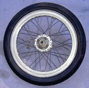 1960's Road Race Wheel With Drop Center Harley Style Alloy Rim And Dunlop Slick