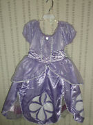 Disney Store Princess Sofia The First Gown Costume Size 7/8 And Amulet Medium