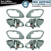 Gray And Chrome Inside Interior Door Handle Bezel Set Of 4 For Chevy Truck Pickup
