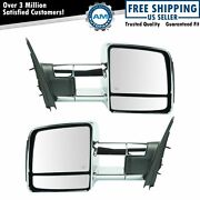 Towing Power Heated Memory Turn Signal Mirrors Chrome Pair Set For Toyota Truck