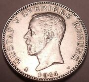 Scarce Silver Sweden 1.9.1.4 Kronaonly Time Minted With Date Like Thisfree Shi