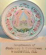Rare 2 Year - 1911 And 1912 Calendar Plate Woodhull Illinois Anderson And Overstreet