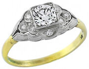Victorian 0.50ct Old Mine Diamond 14k Yellow And 18k White Gold Engagement Ring