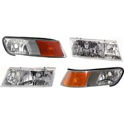 99-02 Grand Marquis Headlights And Corner Parking Lights Left And Right Set Kit New