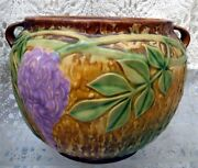 Roseville Wisteria Early 20th Century Dual Handled Bowl In Tan