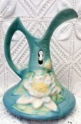 Roseville Water Lily Mid 20th Century Ewer In Blue With White Lilis