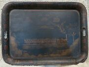 Antique Toleware Serving Tray Train Flagman White House Dog People Tole C-1870