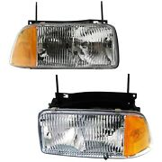 Headlight Set For 95-97 Gmc Jimmy 94-97 Sonoma Left And Right Side W/ Bulb